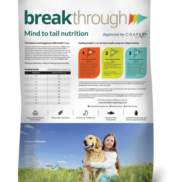 Breakthrough Dog Food - rear of product